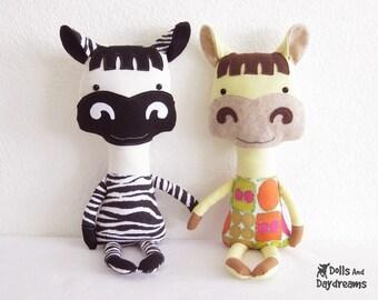 Horse Pony Zebra PDF Sewing Pattern Stuffed Animal Softie