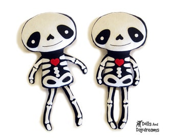 Skeleton Doll PDF Sewing Pattern Halloween Softie Day of The Dead Stuffed Toy