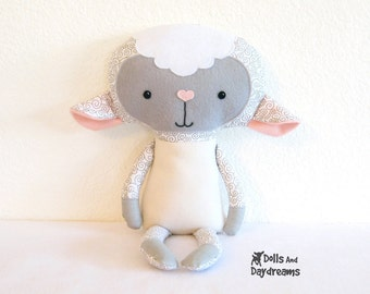 Lamb PDF Sewing Pattern Stuffed Toy Animal Sheep Softie