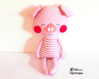 Pig Sewing Pattern PDF Softie Stuffed Toy Photo Tutorial Dress Up Farm Animal