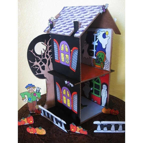 Items similar to haunted house skin pdf cardboard for How to make a cardboard haunted house