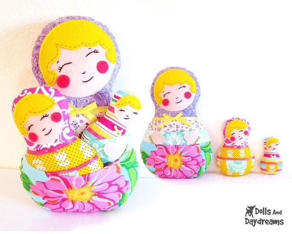Babushka Matryoshka Russian Nesting Dolls PDF Sewing Pattern Set of 3