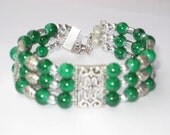 Tibetan Silver Green Jade  Bangle Bracelet