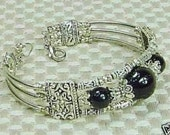 Black Jade and Tibetan Silver Bracelet