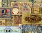 Foreign Currency Digital Collage No.2 WWII Script Digital Collage French English Money Digital Ephemera Embellishment Altered Books 009