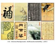 Oriental Backgrounds Digital Collage Sheet Asian Japanese Chinese ACEO ATC Background Border Cards Ephemera Embellishments Tags Grunge112