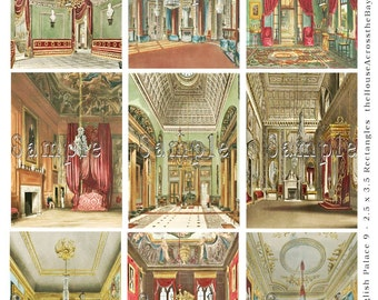 English Palace Rooms Digital Collage Sheet 2.5 x 3.5 ACEO Digital ATC Background Scrapbooking Vintage Digital Tags Cards 040