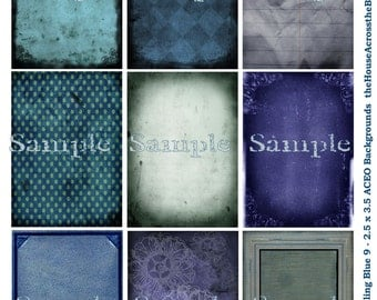Feeling Blue Grunge Backgrounds Digital Collage Sheet  2.5 x 3.5 inches ACEO ATC  Tags Jewelry Cards Printable Download