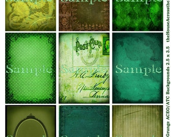 Green Grunge Backgrounds Digital Collage Sheet  2.5 x 3.5 inches ACEO ATC Tags Jewelry Cards Ephemera Printable Download