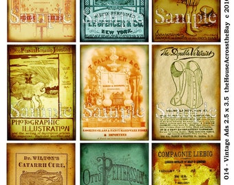 Vintage Ads ATC ACEO Digital Collage Sheet 2.5 x 3.5 Steampunk Grunge Backgrounds Jewelry Cards Tags Printable Download