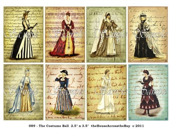 Vintage French Costume Ball ATC ACEO Digital Collage 2.5 x 3.5 Ephemera Embellishments Backgrounds Tags Printable Instant Download