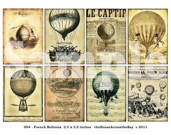 Vintage Hot Air Balloons ACT Digital Collage ACEO French Ads Grunge Newspaper 2.5 x 3.5 Steampunk Ephemera Printable Download