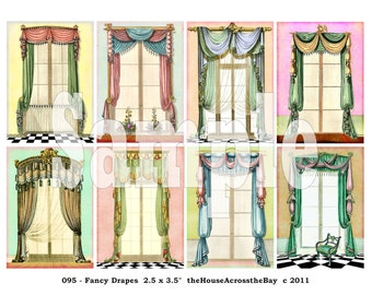 Fancy Drapes ATC Digital Collage Sheet ACEO Backgrounds Vintage Victorian Windows Drapery 2.5 x 3.5 Cards Ephemera Tags Grunge Printable