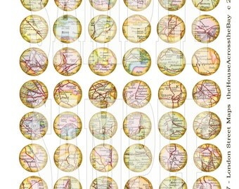 London Street Maps 1 inch Circles Digital Collage Sheet Jewelry Pendant Images Buttons Magnets Bottle Cap Printable Instant Download