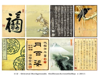 Vintage Oriental Backgrounds Digital Collage Sheet Asian Japanese Chinese ACEO ATC Background Jewelry Cards Ephemera Printable Download