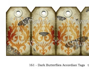 Dark Butterflies Accordion Tag Book or 6 Tags Digital Collage Printable Instant Download Grunge Goth Card
