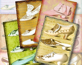 Shoe Fetish ATC Digital Collage Sheet ACEO Vintage Backgrounds 2.5 x 3.5 Victorian Shoe Steampunk Tags Jewelry Cards Printable Download