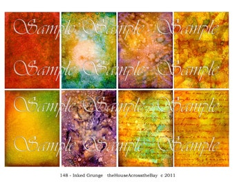 Inked Grunge ATC Digital Collage Sheet ACEO Backgrounds ATC Grunge Digital Collage Sheet Tags Card Texture 148