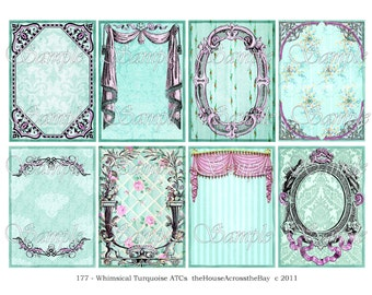 Whimsical Turquoise ATC ACEO Digital Collage 2.5 x 3.5 Inch Backgrounds Vintage Frames Drapes Jewelry Cards Tags Printable Download