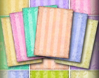 Elegant Stripes ATC Digital Collage Sheet  Whimsical ACEO Backgrounds Vintage Pastel Stripes Tags Jewelry Cards Printable Download