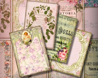 Whimsical Pink ATC ACEO Digital Collage Backgrounds 2.5 x 3.5 Vintage Victorian Frames Ads Jewelry Cards Tags Printable Instant Download