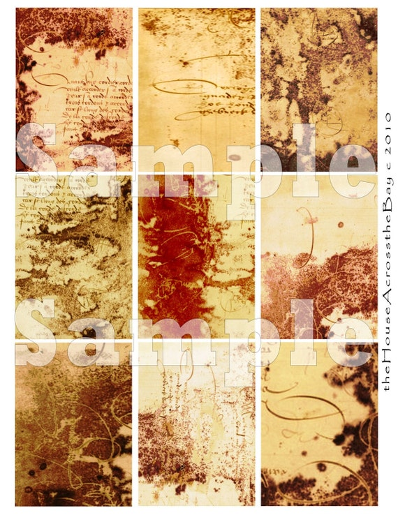 Grunge 101 Digital Collage ATC Digital Collage ACEO Background Digital 2.5 x 3.5 Texture Ephemera Cards Tag 023
