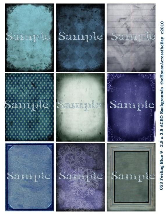 Feeling Blue Grunge Backgrounds Digital Collage Sheet  2.5 x 3.5 inches ACEO ATC  Tags Card Embellishment Ephemera  053