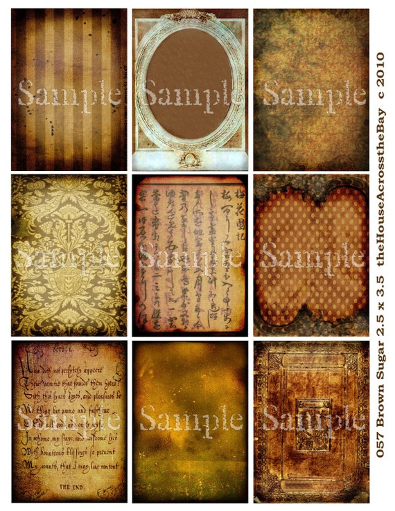 Brown Sugar Digital Collage Sheet ATC Digital Collage ACEO Backgrounds Vintage Grunge Digital Text Writing Tags Embellishment Ephemera  057