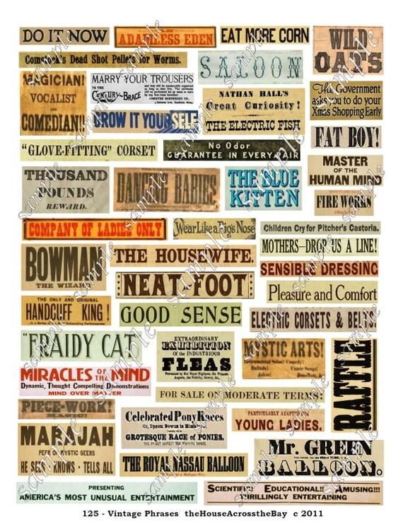 Vintage Phrases Digital Collage Sheet Words Advertising Labels ACEO ATC Background Border Cards Ephemera Embellishments Tags Grunge 125