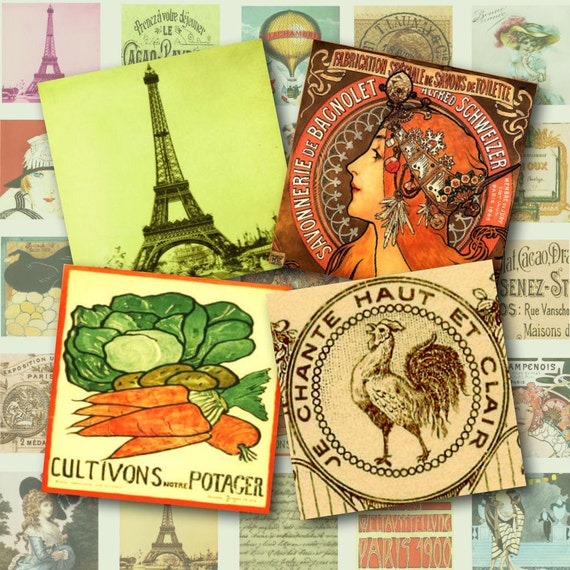 All Things French Pendant Squares Digital Collage Sheet 1 inch square Background Magnets Buttons Card Ephemera Backgrounds Tag Grunge 178