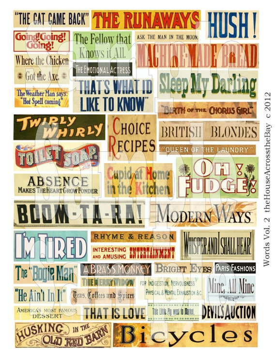 Vintage Phrases Vol 2 Digital Collage Sheet Words Advertising Labels ACEO ATC Background Cards Ephemera Embellishments Tags Grunge