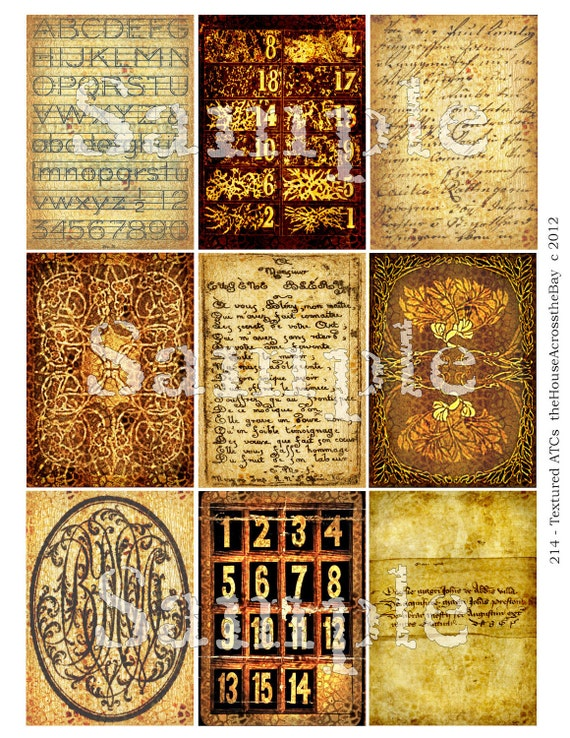 Textured Backgrounds ACT Digital Collage ACEO Digital Backgrounds 2.5 x 3.5 Steampunk Digital Tag Card Texture 214