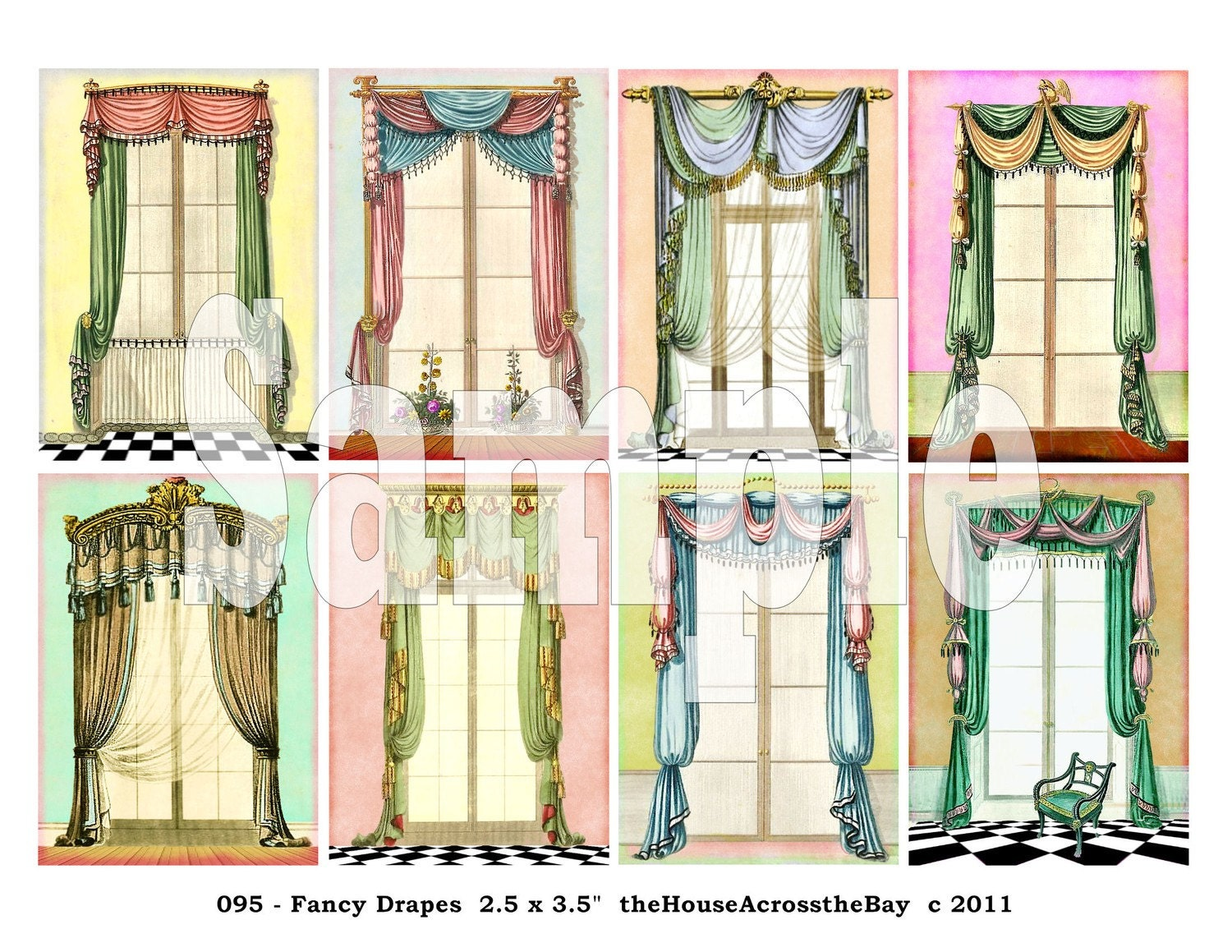 Fancy Drapes ATC Digital Collage Sheet by theHouseAcrosstheBay