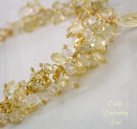 Starlight Bracelet- Golden Beryl, White Topaz, Gold