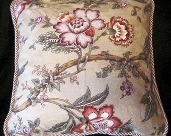 Country French Floral Cottage Pillow Khaki Green Sage Romantic