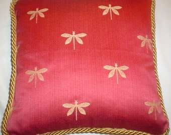 French Country Cottage Dragonfly Embroidered Pillow Red Gold Garden