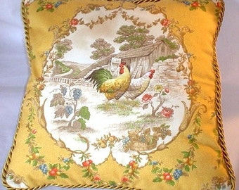 Country French Cottage Rooster Pillow Provence Yellow Ivory Toile Hens Americana