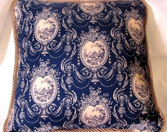 French Country Romantic Cottage Pillow Beige Blue Toile Paris
