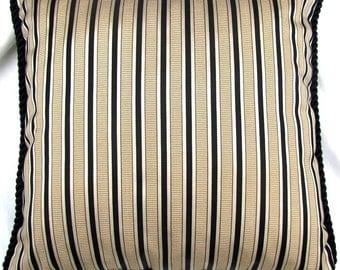 French Country Romantic Cottage Pillow Black Gold Stripe Paris Ivory Parisian