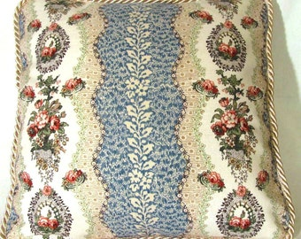French Country Romantic Cottage Pillow Blue Ivory Toile Provence Floral Garden