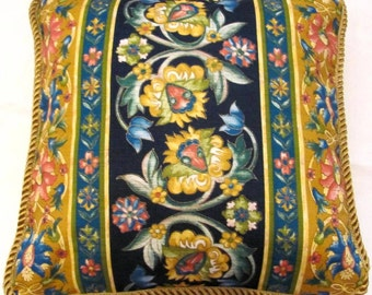 Provence Country French Pillow Blue Yellow Cottage Country Provencal Floral Print