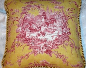 Country French Cottage Rooster Pillow Provence Yellow Ivory Toile Hens