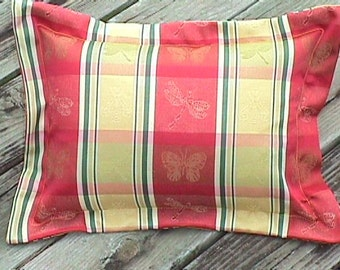 French Country Cottage Dragonfly Embroidered Pillow Red Yellow Green Provence Cushion