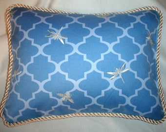 Country French Cottage Pillow Provence Dragonfly Blue Ivory Decorator
