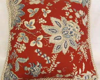 French Country Romantic Cottage Pillow Red White Blue Toile Provence Provencal Cushion Decorator