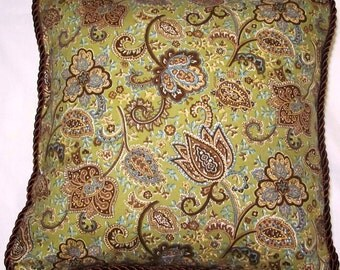 Shabby Country French Cottage Paisley Green Blue Brown Pillow Toile Chic Provence