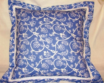 French Country Romantic Cottage Pillow Blue White Toile Provence Floral Garden