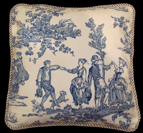 Country French Beige and Blue Toile Romantic Pillow