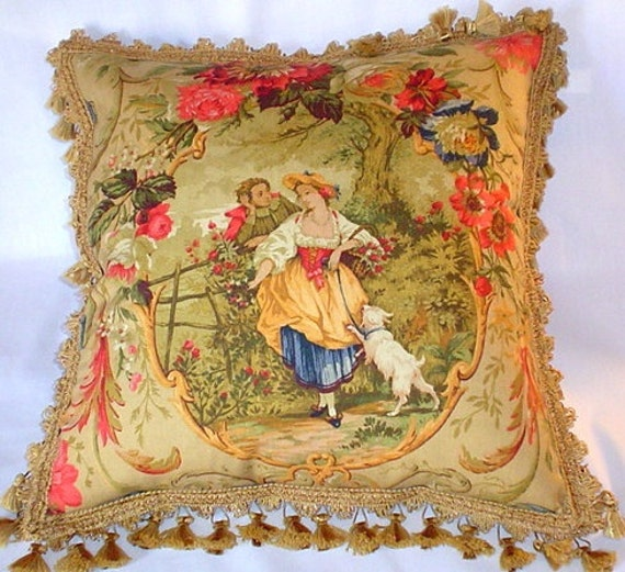 Country French Cottage Toile Pillow Gold Romantic Fringed