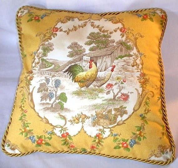 Cushioned French Country Rooster Rug: Country French Cottage Rooster Pillow Provence Yellow Ivory